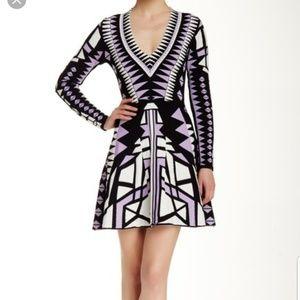 Parker Napa knit black, purple and white dress M